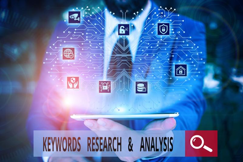 Conceptual hand writing showing Keywords Research And Analysis. Business photo text search for data and create tables. Conceptual hand writing showing Keywords stock photo