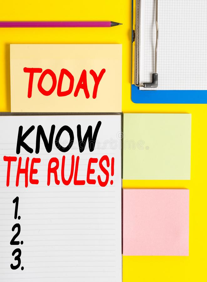 Conceptual hand writing showing Know The Rules. Business photo showcasing set explicit or regulation principles. Conceptual hand writing showing Know The Rules stock images
