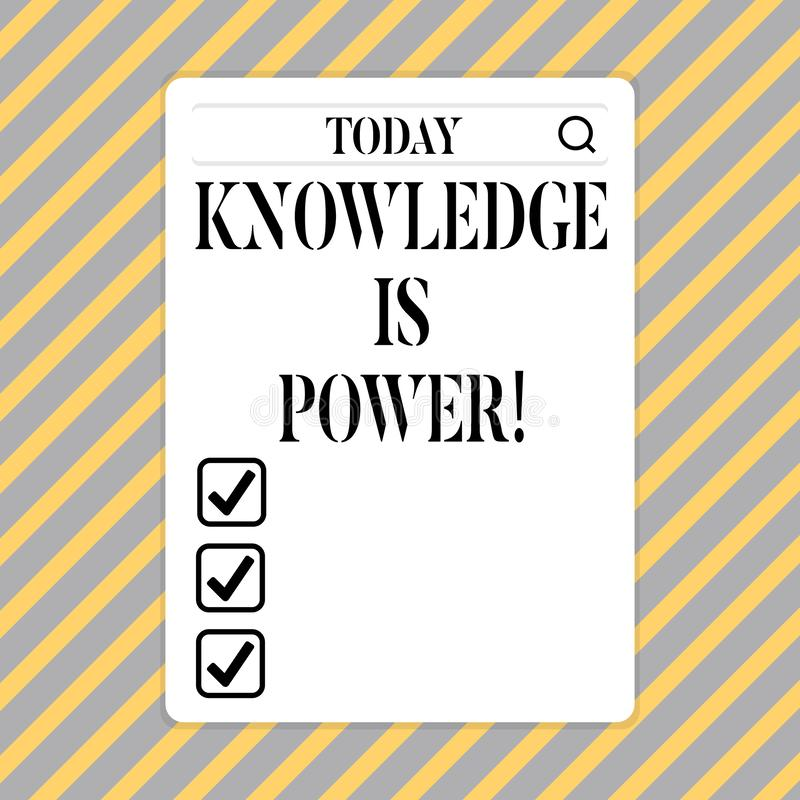 Conceptual hand writing showing Knowledge Is Power. Business photo showcasing learning will give you advantage over stock illustration