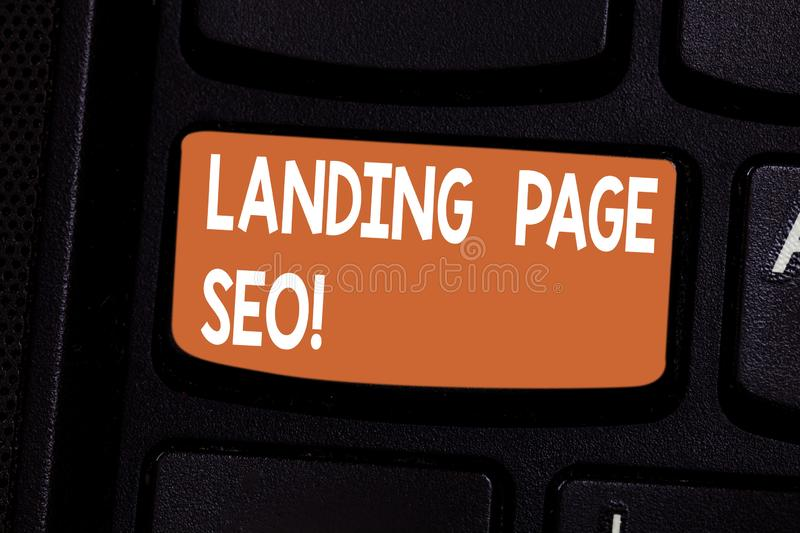 Conceptual hand writing showing Landing Page Seo. Business photo showcasing web that visitor arrive after they click. Link search engine Keyboard key Intention vector illustration