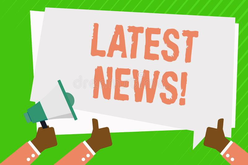 Conceptual hand writing showing Latest News. Business photo showcasing something that is most recent or currently just. Conceptual hand writing showing Latest royalty free illustration