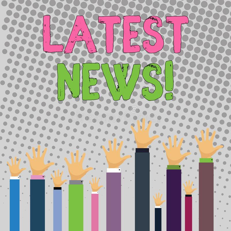 Conceptual hand writing showing Latest News. Business photo text something that is most recent or currently just. Conceptual hand writing showing Latest News royalty free illustration