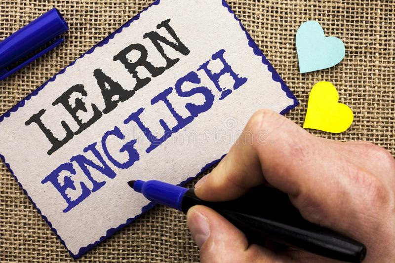 Conceptual hand writing showing Learn English. Business photo showcasing Study another Language Learn Something Foreign Communicat royalty free stock photos