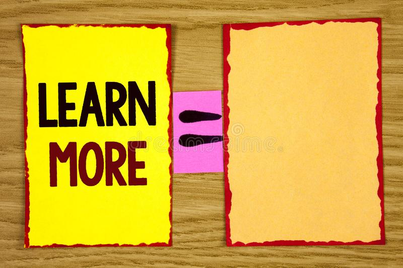 Conceptual hand writing showing Learn More. Business photo text Study harder Develop new skills abilities Get extra education writ. Ten Sticky Note Paper wooden royalty free stock photo