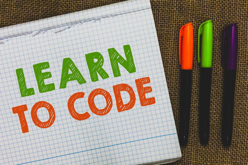 Conceptual hand writing showing Learn To Code. Business photo text Learn to write Software Be a Computer Programmer Coder Open not. Ebook jute background royalty free stock photos