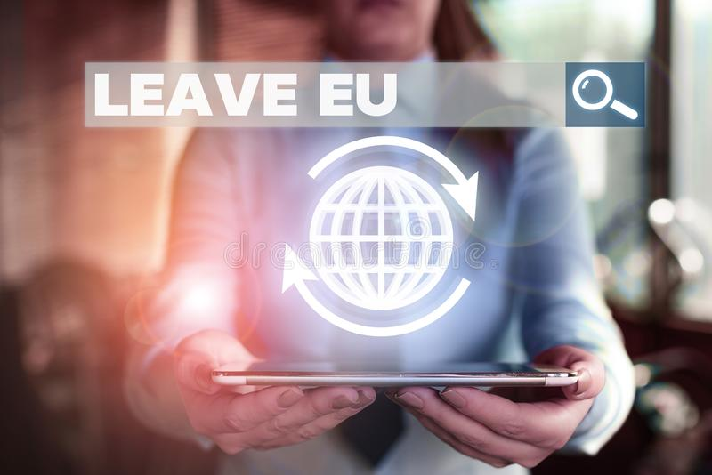 Conceptual hand writing showing Leave Eu. Business photo showcasing An act of a demonstrating to leave a country that. Conceptual hand writing showing Leave Eu stock photography