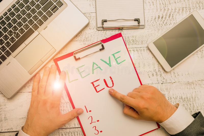 Conceptual hand writing showing Leave Eu. Business photo showcasing An act of a demonstrating to leave a country that. Conceptual hand writing showing Leave Eu royalty free stock images