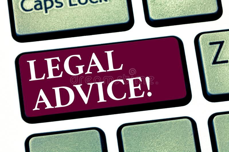 Conceptual hand writing showing Legal Advice. Business photo showcasing Recommendations given by lawyer or law consultant expert. Keyboard key Intention to stock photo