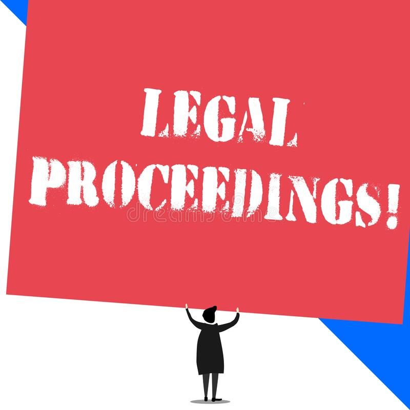 Conceptual hand writing showing Legal Proceedings. Business photo showcasing procedure instituted in a court of law to. Conceptual hand writing showing Legal vector illustration