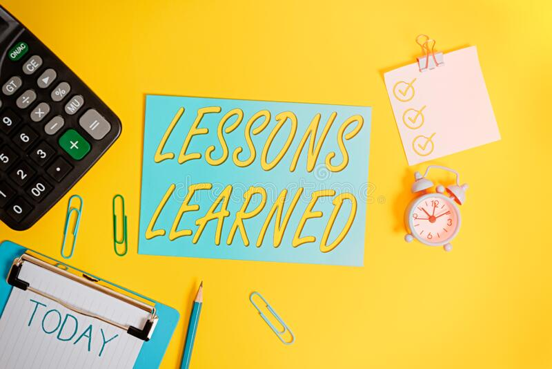 Conceptual hand writing showing Lessons Learned. Business photo showcasing information reflects positive and negative experiences stock photo