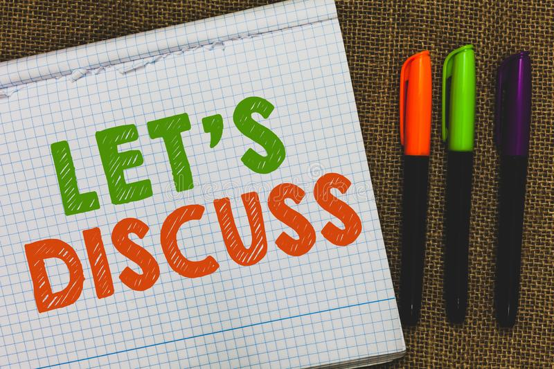 Conceptual hand writing showing Let s is Discuss. Business photo text Permit to Talk Open Up Go Over a Topic Chat Sharing Open not. Ebook jute background stock images