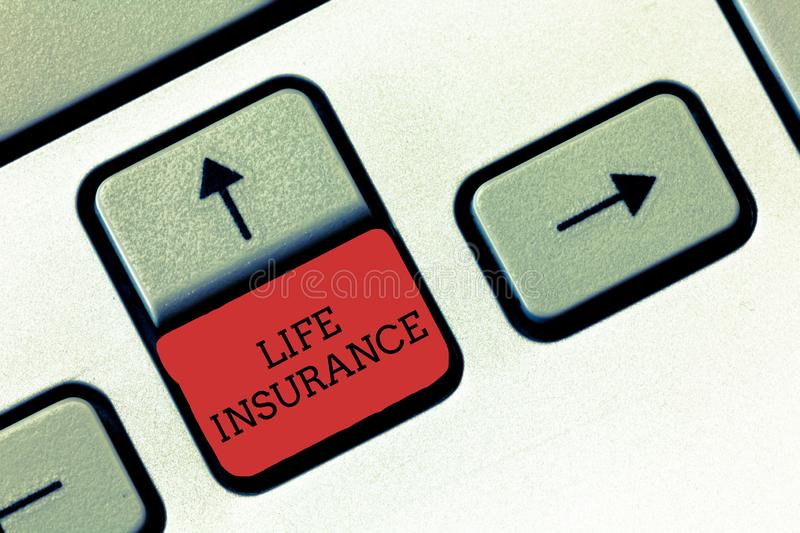 Conceptual hand writing showing Life Insurance. Business photo text Payment of death benefit or injury Burial or medical claim.  stock photos