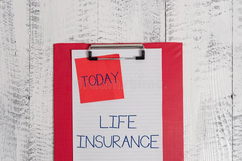 Conceptual hand writing showing Life Insurance. Business photo text Payment of death benefit or injury Burial or medical. Conceptual hand writing showing Life stock photo