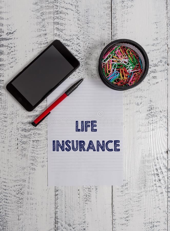 Conceptual hand writing showing Life Insurance. Business photo text Payment of death benefit or injury Burial or medical. Conceptual hand writing showing Life royalty free stock photos