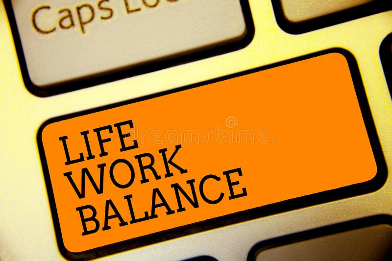 Conceptual hand writing showing Life Work Balance. Business photo text stability person needs between his job and personal time Bu. Tton alphabets script vector illustration