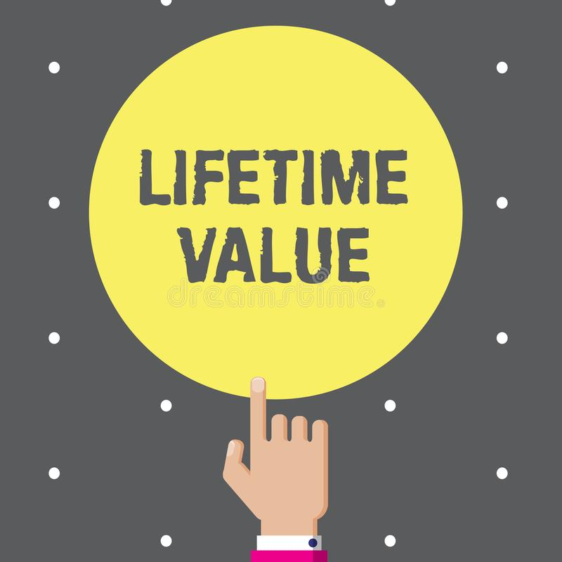 Conceptual hand writing showing Lifetime Value. Business photo text Worth of the customer over the lifetime of the business.  royalty free illustration