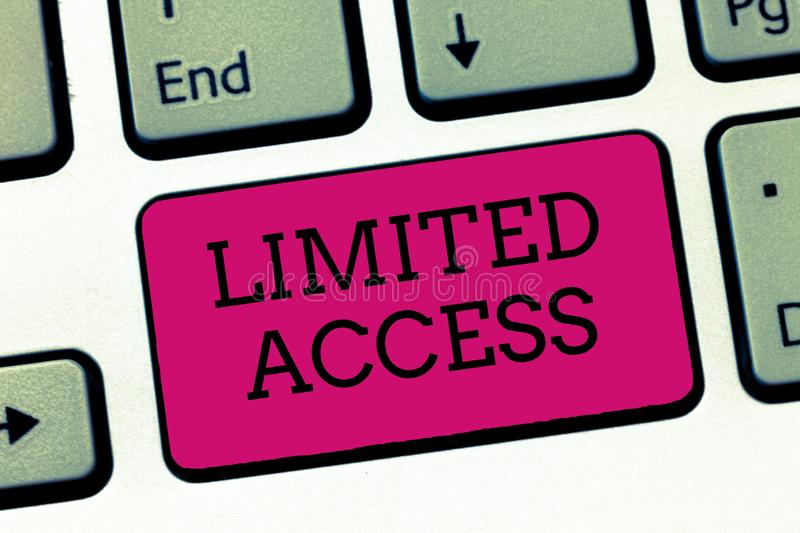 Conceptual hand writing showing Limited Access. Business photo showcasing Having access restricted to a quite small number of poin. Ts stock image