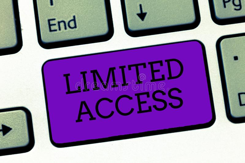 Conceptual hand writing showing Limited Access. Business photo text Having access restricted to a quite small number of points.  royalty free stock images