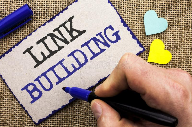 Conceptual hand writing showing Link Building. Business photo showcasing Process of acquiring hyperlinks from other websites Conne. Ction written Sticky Note the stock image
