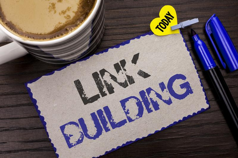 Conceptual hand writing showing Link Building. Business photo showcasing Process of acquiring hyperlinks from other websites Conne. Ction written Sticky Note royalty free stock photography