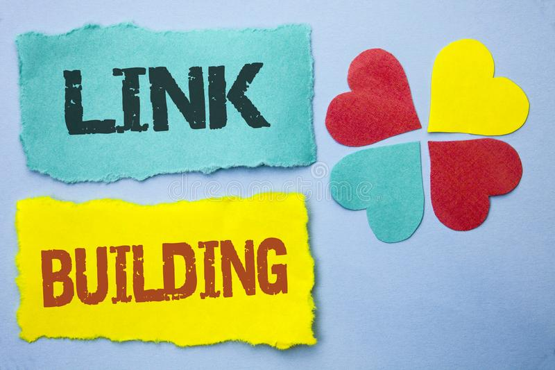 Conceptual hand writing showing Link Building. Business photo showcasing Process of acquiring hyperlinks from other websites Conne. Ction written Tear Papers the royalty free stock photography