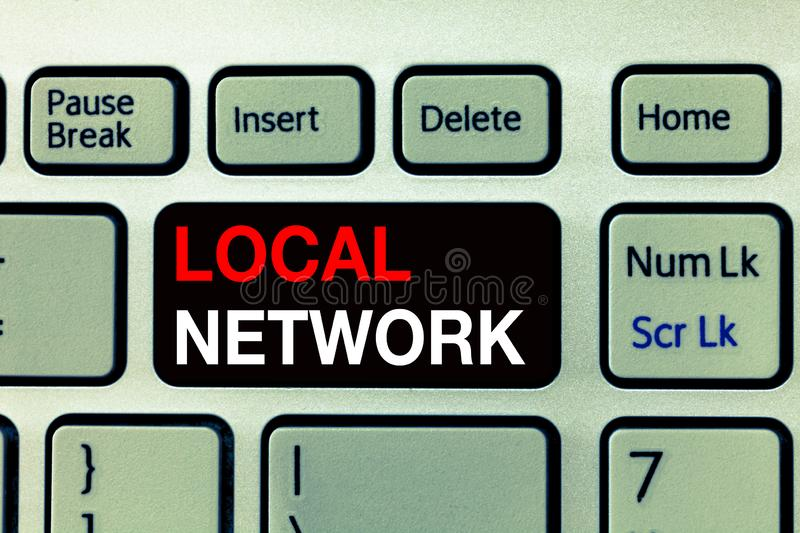 Conceptual hand writing showing Local Network. Business photo text Intranet LAN Radio Waves DSL Boradband Switch Connection.  stock photo