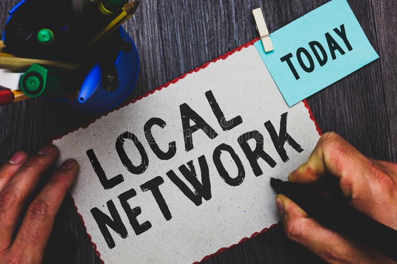 Conceptual hand writing showing Local Network. Business photo text Intranet LAN Radio Waves DSL Boradband Switch Connection Man ho. Lding marker paper clothespin royalty free stock photo