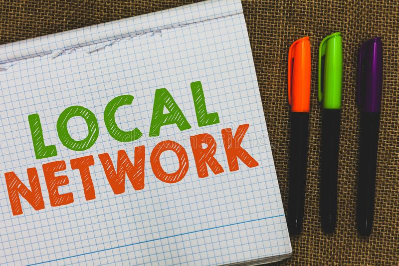 Conceptual hand writing showing Local Network. Business photo text Intranet LAN Radio Waves DSL Boradband Switch Connection Open n. Otebook jute background royalty free stock images