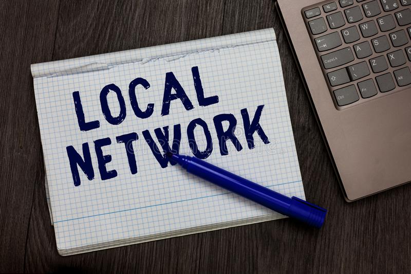 Conceptual hand writing showing Local Network. Business photo text Intranet LAN Radio Waves DSL Boradband Switch Connection Open n. Otebook squared page black royalty free stock photography