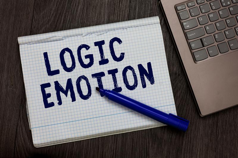 Conceptual hand writing showing Logic Emotion. Business photo text Unpleasant Feelings turned to Self Respect Reasonable Mind Open royalty free stock photography