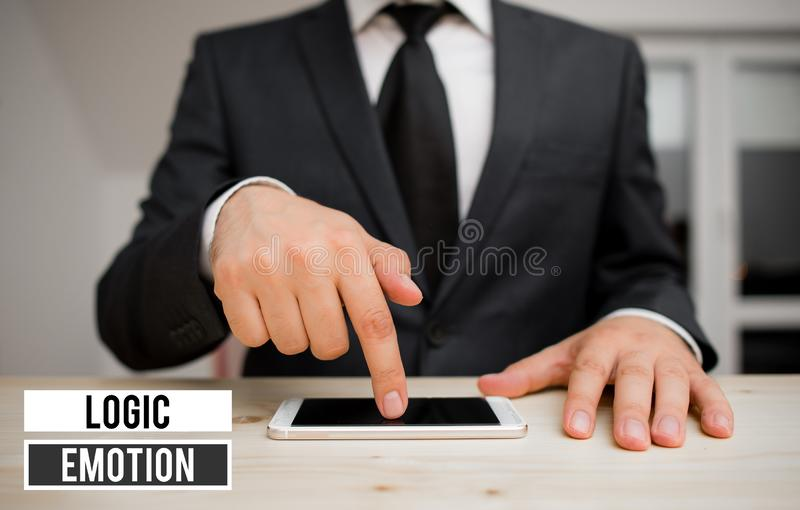 Conceptual hand writing showing Logic Emotion. Business photo showcasing Unpleasant Feelings turned to Self Respect royalty free stock photography