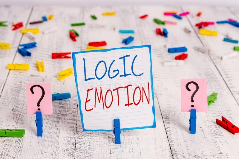 Conceptual hand writing showing Logic Emotion. Business photo showcasing Unpleasant Feelings turned to Self Respect stock photos