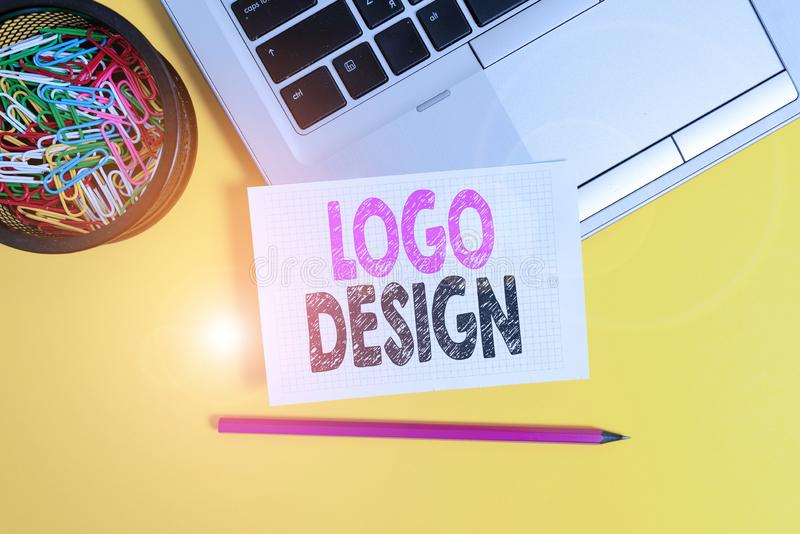 Conceptual hand writing showing Logo Design. Business photo text a graphic representation or symbol of company name or. Conceptual hand writing showing Logo royalty free stock photos