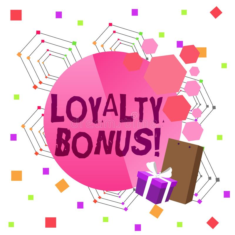 Conceptual hand writing showing Loyalty Bonus. Business photo text reward such as money or points is given for a loyal stock illustration
