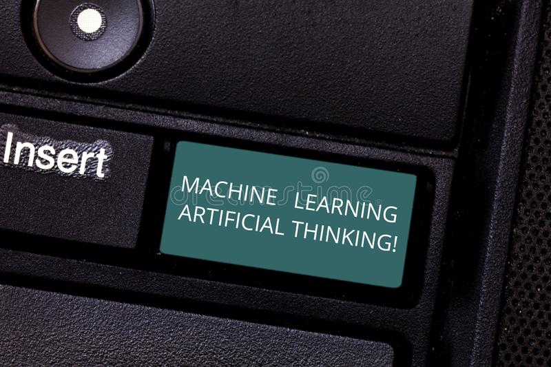 Conceptual hand writing showing Machine Learning Artificial Thinking. Business photo showcasing Elearning online education chat. Bot Keyboard key Intention to stock images