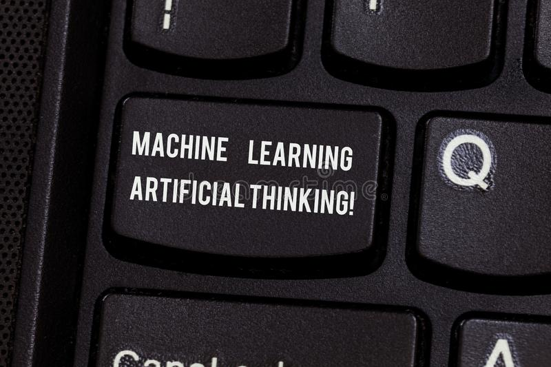 Conceptual hand writing showing Machine Learning Artificial Thinking. Business photo text Elearning online education. Chat bot Keyboard key Intention to create royalty free stock photos
