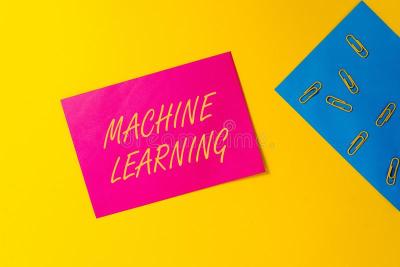 Conceptual hand writing showing Machine Learning. Business photo text give computers the ability to be taught with data. Conceptual hand writing showing Machine royalty free stock photo