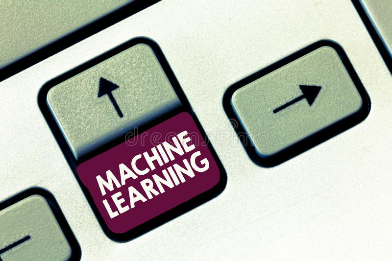 Conceptual hand writing showing Machine Learning. Business photo text give computers the ability to be taught with data.  stock photo