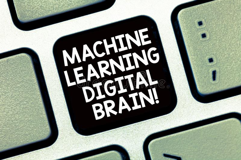 Conceptual hand writing showing Machine Learning Digital Brain. Business photo text Artificial Intelligence Digital. Education Keyboard Intention to create royalty free stock image
