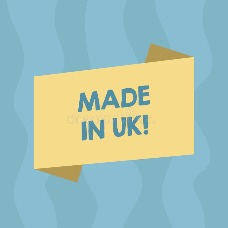 Conceptual hand writing showing Made In Uk. Business photo showcasing Something analysisufactured in the United Kingdom British vector illustration