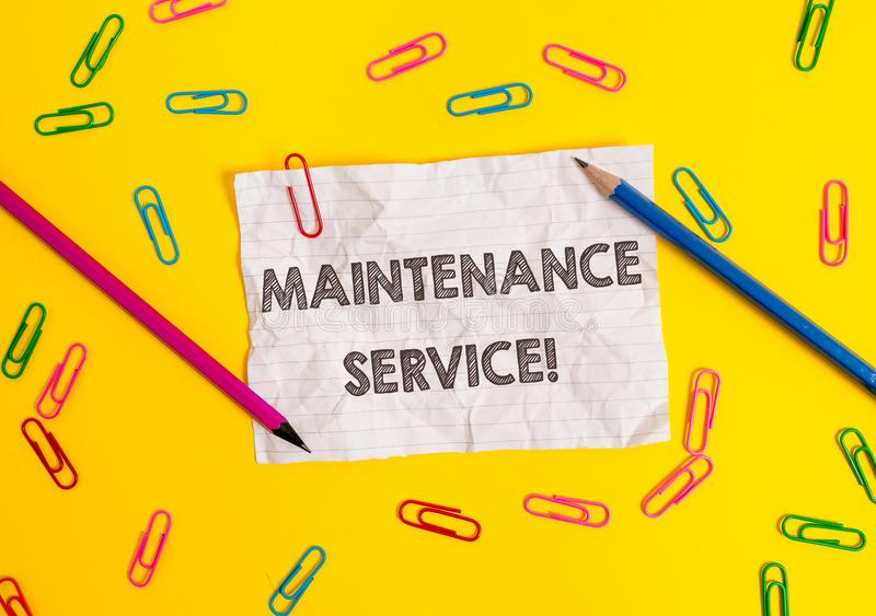 Conceptual hand writing showing Maintenance Service. Business photo showcasing Keep a Product Service in Good Operating. Conceptual hand writing showing royalty free stock image