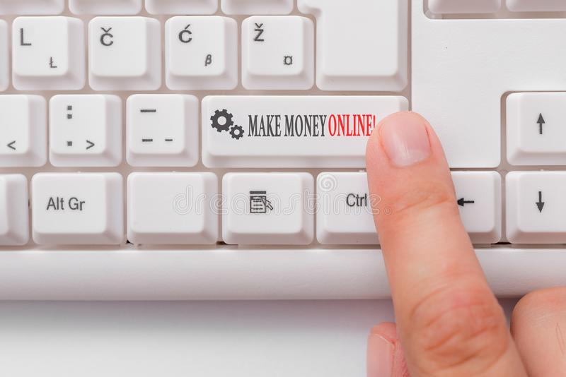Conceptual hand writing showing Make Money Online. Business photo text making profit using internet freelancing or. Conceptual hand writing showing Make Money stock image