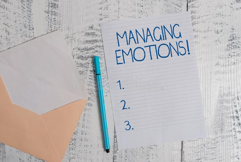 Conceptual hand writing showing Managing Emotions. Business photo showcasing ability be open to feelings and modulate royalty free stock photo