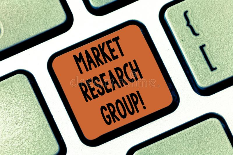 Conceptual hand writing showing Market Research Group. Business photo showcasing gather information about target markets. Or customers Keyboard key Intention to royalty free stock photo