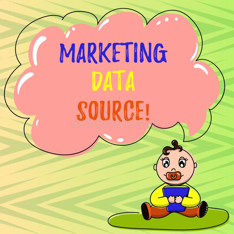 Conceptual hand writing showing Marketing Data Source. Business photo showcasing connection set up to a database from a stock illustration