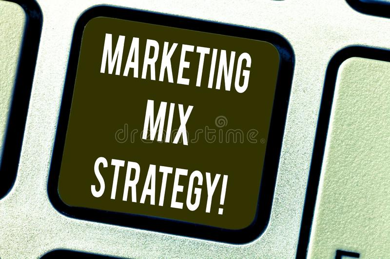 Conceptual hand writing showing Marketing Mix Strategy. Business photo text Set of governable tactical marketing tool. Company use Keyboard key Intention to royalty free stock photos