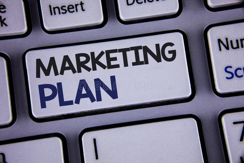 Conceptual hand writing showing Marketing Plan. Business photo showcasing Business Advertising Strategies Market Successful Ideas. Text two words backspace royalty free stock photo