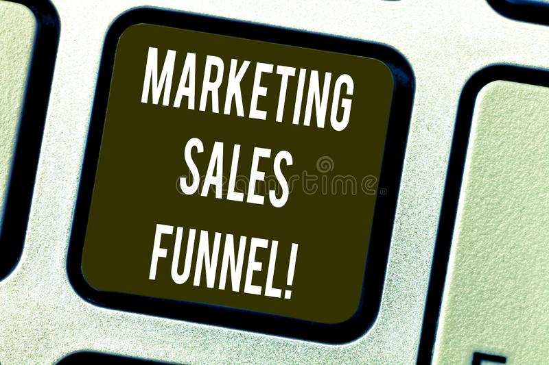 Conceptual hand writing showing Marketing Sales Funnel. Business photo text Visual representation of the customer stock photography