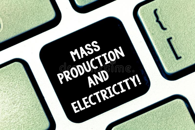 Conceptual hand writing showing Mass Production And Electricity. Business photo text Industrial electrical power supply stock images