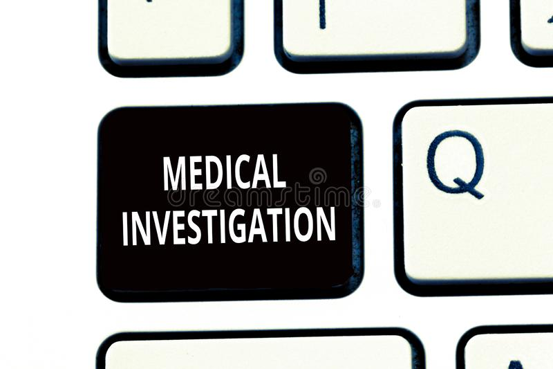 Conceptual hand writing showing Medical Investigation. Business photo text Doing analysis to collect data for new drugs royalty free stock images
